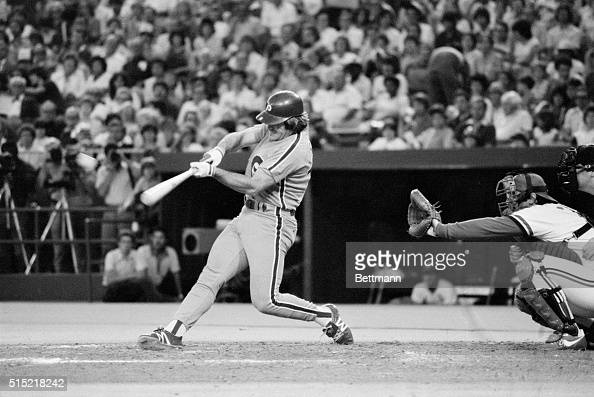 6/22/82St Louis Missouri Philadelphia p hillies' Pete Rose takes over second place in the alltime career hits with this double off St Louis Cardinals...