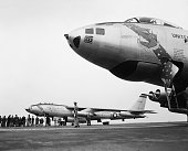 6/23/1954Yokota Air Base Japan Two of the three Aerican B47 Stratojet bombers rest on runway here after making historic 6700 mile nonstop flight from...