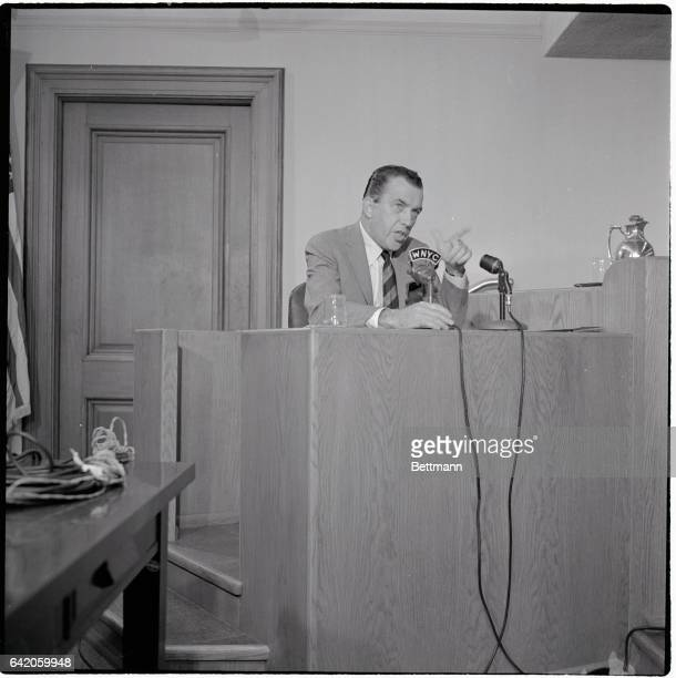6/23/1961New York New York Ed Sullivan points a finger emphatically as he testifies at a Federal Communications Commission hearing on television...