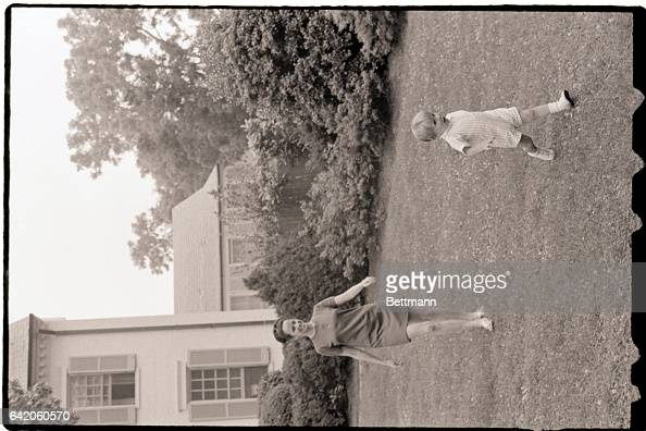 6/23/1969McLean VA Twoyearold Douglas Kennedy son of the late Sen and Mrs Robert F Kennedy scampers away from his governess The photo was taken...