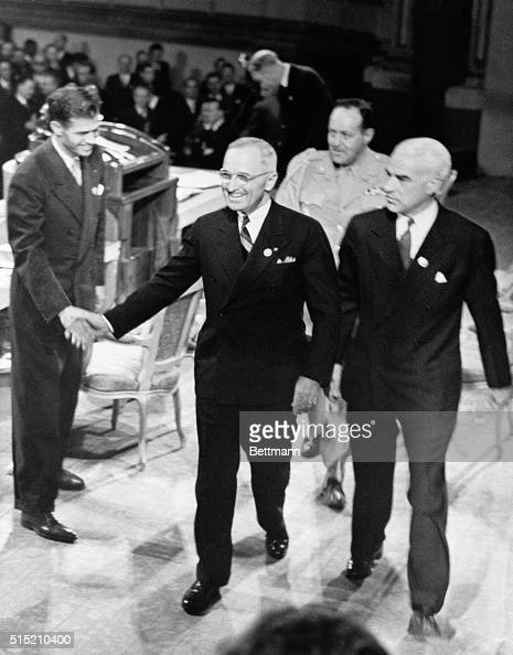 6/26/1945San Francisco CA In this photo Alger Hiss who at the time was Secretary General of the United Nations Conference on International...