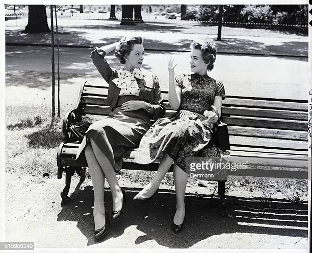 6/28/1957London England Seated on a bench in London's famous Hyde Park actresses Deborah Kerr and Jean Seberg discuss the movie they will make...