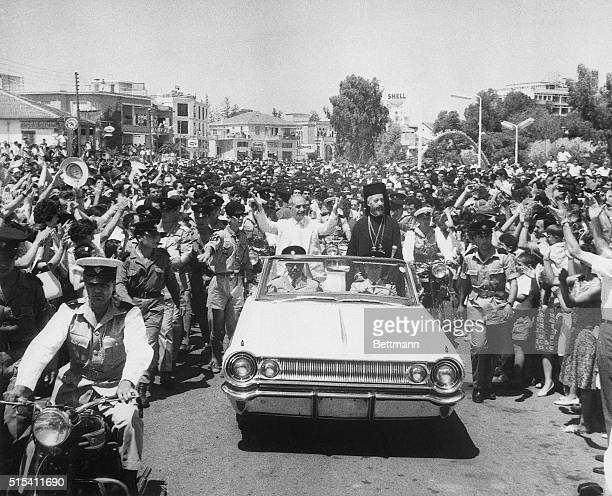 6/28/1964Nicosia CyprusCheered by enormous crowds General George Grivas the former EOKA underground leader of the fight for independence against the...