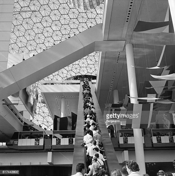 6/28/1967Montreal Canada There's so much to see that people look up down and all around while they ride the escalator to the top level of the US...