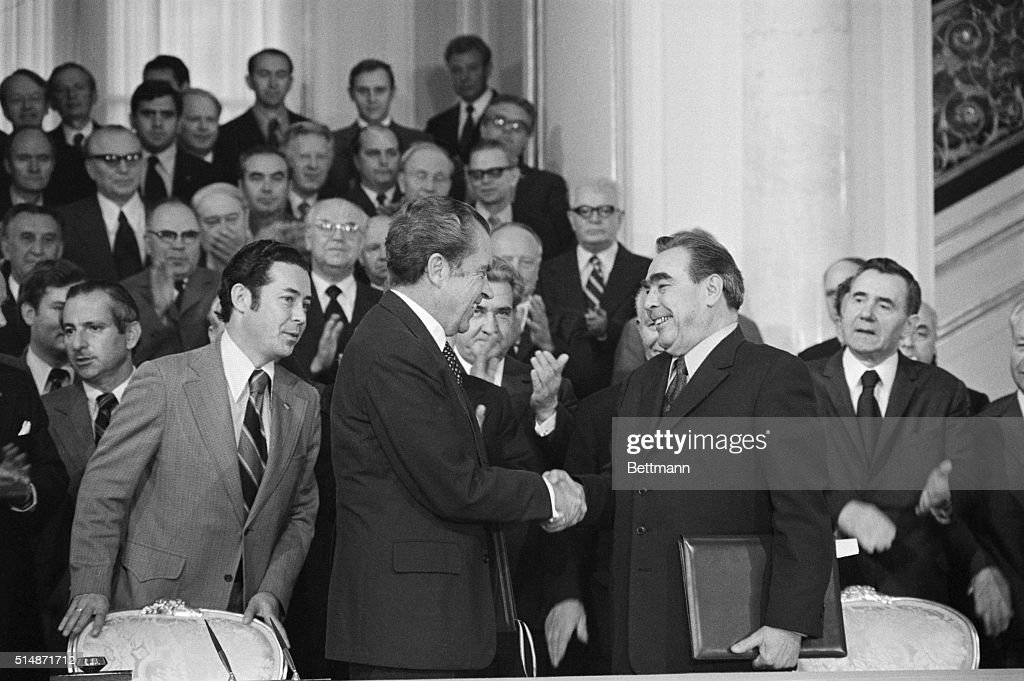 President <a gi-track='captionPersonalityLinkClicked' href=/galleries/search?phrase=Richard+Nixon&family=editorial&specificpeople=92456 ng-click='$event.stopPropagation()'>Richard Nixon</a> and Soviet Party Leader Leonid I. Brezhnev are all smiles as they shake hands at the Kremlin after signing a long term trade agreement to facilitate economic, industrial, and technical cooperation.