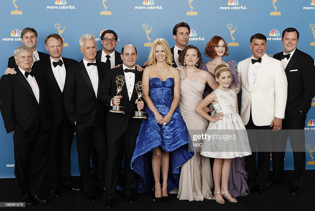 THE 62nd PRIMETIME EMMY AWARDS -- Pictured: (l-r) Cast of Mad Men, winner of Outstanding Drama Series: Robert Morse, Aaron Staton, Jared Harris, John Slattery, Rich Sommer, Matthew Weiner, January Jones, <a gi-track='captionPersonalityLinkClicked' href=/galleries/search?phrase=Jon+Hamm&family=editorial&specificpeople=3027367 ng-click='$event.stopPropagation()'>Jon Hamm</a>, Elisabeth Moss, Christina Hendricks, Kiernan Shipka, Bryan Batt, Michael Gladis in the press room during The 62nd Primetime Emmy Awards held at the Nokia Theatre L.A. Live on August 29, 2010