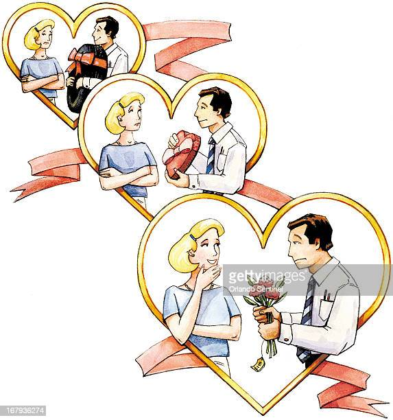 62p x 66p Ingrid Pecca color illustration of three versions of a man offering his sweetheart a gift she reacts to flowers a box of candy and a new...