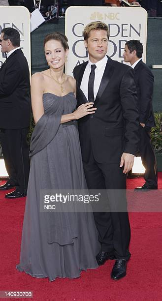 64th ANNUAL GOLDEN GLOBE AWARDS Pictured Angelina Jolie and Brad Pitt arrive at the 64th Annual Golden Globe Awards held at the Beverly Hilton Hotel...