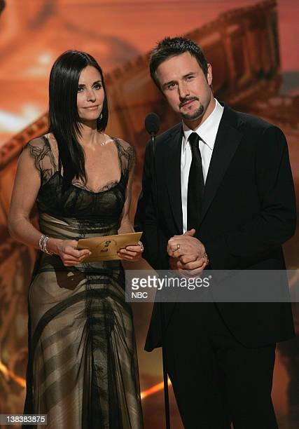64th ANNUAL GOLDEN GLOBE AWARDS Pictured Courteney Cox and David Arquette presenters of Best Television Series Drama on stage during the 64th Annual...
