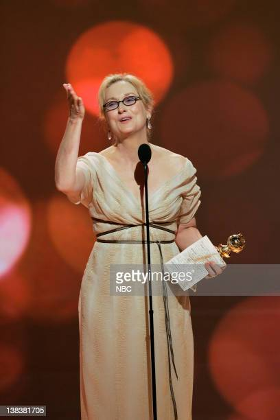 64th ANNUAL GOLDEN GLOBE AWARDS Pictured Meryl Streep winner of Best Performance by an Actress in a Motion Picture Musical or Comedy for 'The Devil...