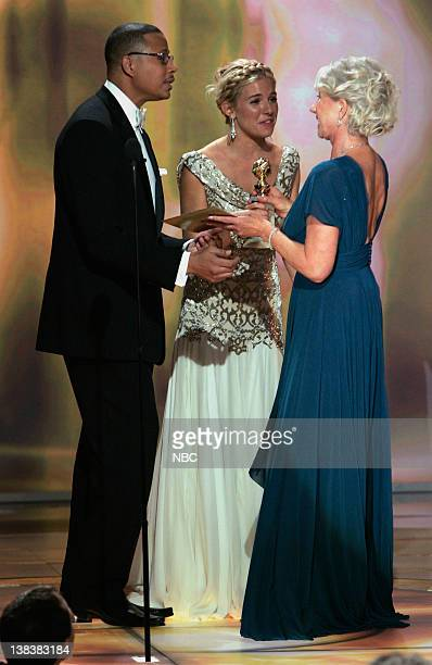 64th ANNUAL GOLDEN GLOBE AWARDS Pictured Terrence Howard Sienna Miller and Golden Globe winner Helen Mirren on stage during the 64th Annual Golden...