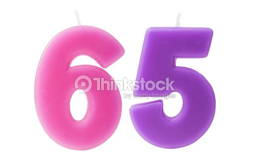 65th Birthday Candles Isolated Stock Photo