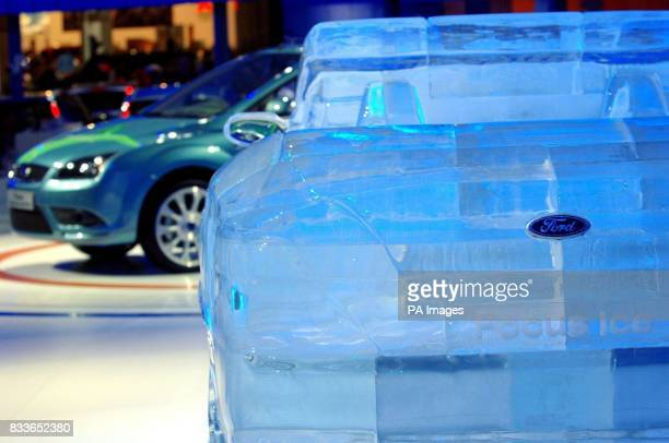 A 65tonne ice sculpture of the new Ford Focus Cabriolet at the British International Motor Show at the ExCel centre in London