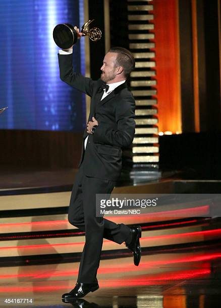 66th ANNUAL PRIMETIME EMMY AWARDS Pictured Actor Aaron Paul accepts the Outstanding Supporting Actor in a Drama Series award for 'Breaking Bad' on...