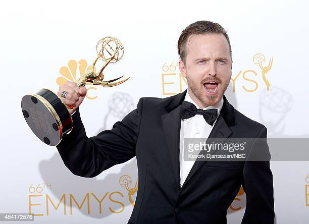 66th ANNUAL PRIMETIME EMMY AWARDS Pictured Actor Aaron Paul winner of Outstanding Supporting Actor In A Drama Series and Outstanding Drama Series for...