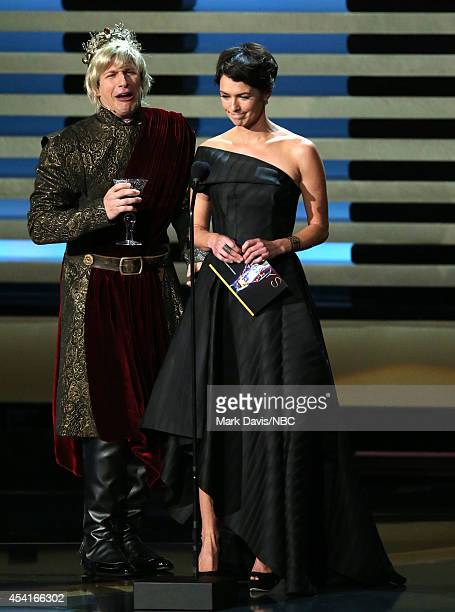 66th ANNUAL PRIMETIME EMMY AWARDS Pictured Actor Andy Samberg and actress Lena Headey speak on stage during the 66th Annual Primetime Emmy Awards...