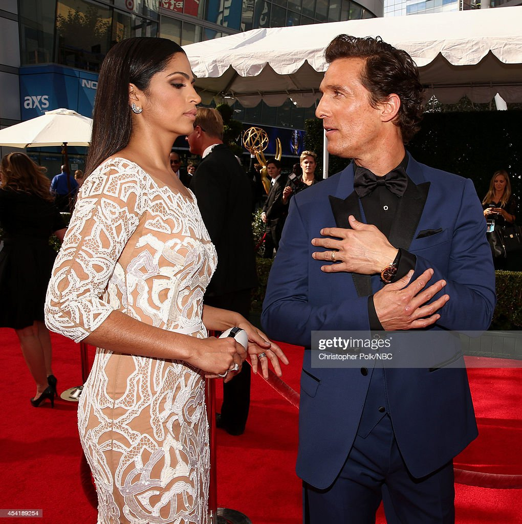 66th ANNUAL PRIMETIME EMMY AWARDS Pictured Actor Matthew McConaughey and Camila Alves McConaughey arrive to the 66th Annual Primetime Emmy Awards...