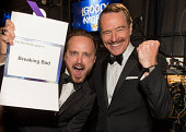 66th ANNUAL PRIMETIME EMMY AWARDS Pictured Actors Aaron Paul and Bryan Cranston winners of Outstanding Drama Series for 'Breaking Bad' pose during...