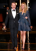 66th ANNUAL PRIMETIME EMMY AWARDS Pictured Actors Bryan Cranston winner of the award for Outstanding Lead Actor in a Drama Series and Julia Roberts...