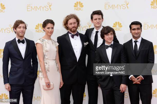 66th ANNUAL PRIMETIME EMMY AWARDS Pictured Actors Thomas Middleditch Amanda Crew TJ Miller Zach Woods Josh Brener and Kumail Nanjiani arrive to the...