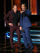 66th ANNUAL PRIMETIME EMMY AWARDS Pictured Actors Woody Harrelson and Matthew McConaughey speak on stage during the 66th Annual Primetime Emmy Awards...