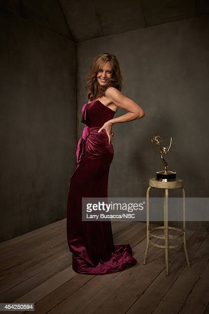 66th ANNUAL PRIMETIME EMMY AWARDS Pictured Actress Allison Janney from 'Mom' poses in the NBC/People photo booth during the 66th Annual Primetime...