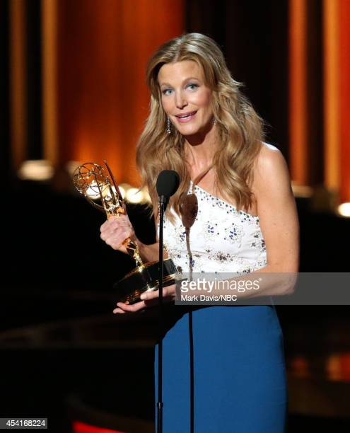 66th ANNUAL PRIMETIME EMMY AWARDS Pictured Actress Anna Gunn accepts the Outstanding Supporting Actress in a Drama Series award for 'Breaking Bad' on...