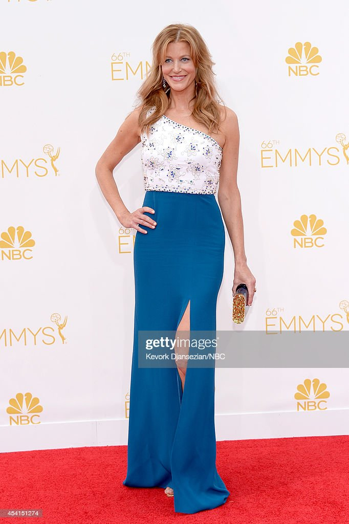 66th ANNUAL PRIMETIME EMMY AWARDS Pictured Actress Anna Gunn arrives to the 66th Annual Primetime Emmy Awards held at the Nokia Theater on August 25...