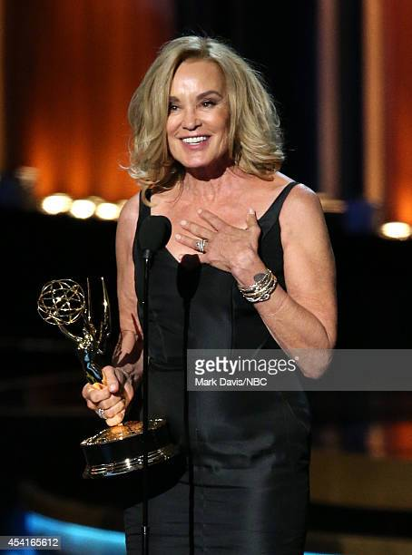 66th ANNUAL PRIMETIME EMMY AWARDS Pictured Actress Jessica Lange accepts the Outstanding Lead Actress in a Miniseries or Movie award for 'American...