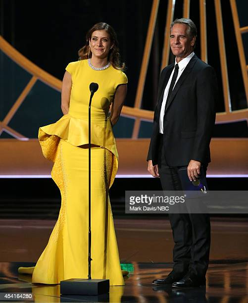 66th ANNUAL PRIMETIME EMMY AWARDS Pictured Actress Kate Walsh and actor Scott Bakula speak on stage during the 66th Annual Primetime Emmy Awards held...