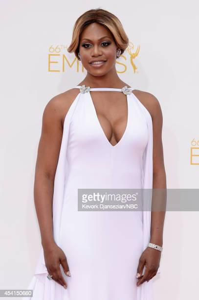 66th ANNUAL PRIMETIME EMMY AWARDS Pictured Actress Laverne Cox arrives to the 66th Annual Primetime Emmy Awards held at the Nokia Theater on August...