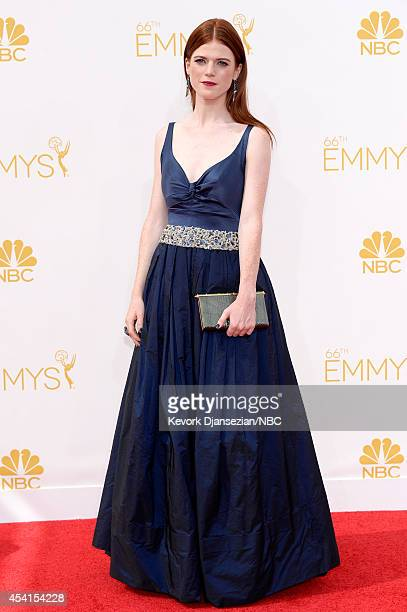 66th ANNUAL PRIMETIME EMMY AWARDS Pictured Actress Rose Leslie arrives to the 66th Annual Primetime Emmy Awards held at the Nokia Theater on August...