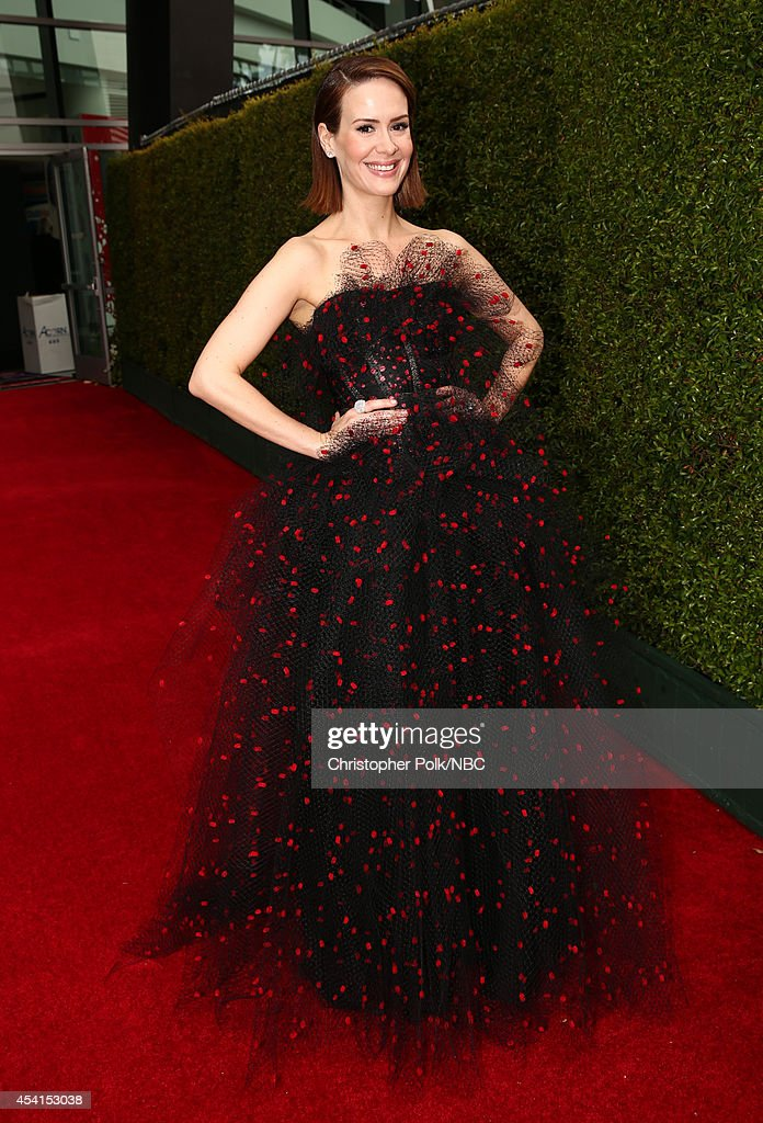 66th ANNUAL PRIMETIME EMMY AWARDS Pictured Actress Sarah Paulson arrives to the 66th Annual Primetime Emmy Awards held at the Nokia Theater on August...
