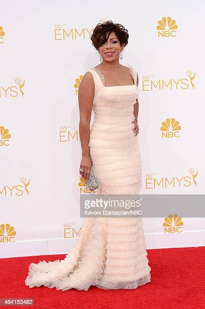 66th ANNUAL PRIMETIME EMMY AWARDS Pictured Actress Selenis Leyva arrives to the 66th Annual Primetime Emmy Awards held at the Nokia Theater on August...