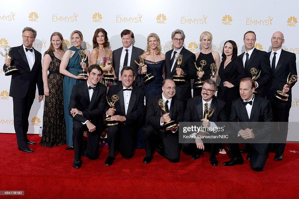 66th ANNUAL PRIMETIME EMMY AWARDS Pictured Executive producer Mark Johnson coexecutive producer Melissa Bernstein producer Diane Mercer actress...