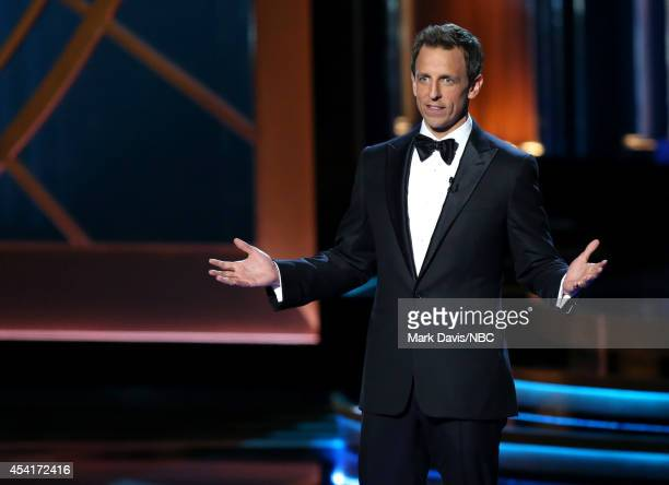 66th ANNUAL PRIMETIME EMMY AWARDS Pictured Host Seth Meyers speaks on stage during the 66th Annual Primetime Emmy Awards held at the Nokia Theater on...