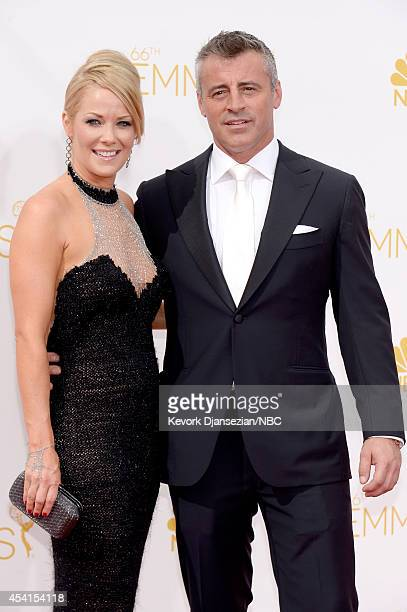 66th ANNUAL PRIMETIME EMMY AWARDS Pictured Melissa McKnight and actor Matt LeBlanc arrive to the 66th Annual Primetime Emmy Awards held at the Nokia...
