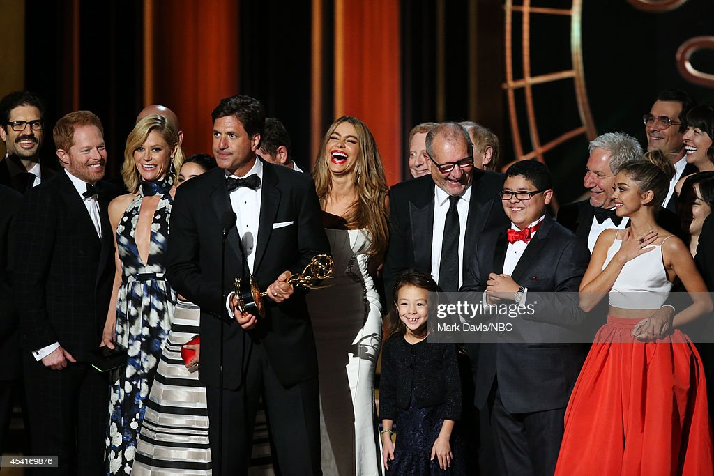 66th ANNUAL PRIMETIME EMMY AWARDS Pictured Writer/producer Steven Levitan and fellow 'Modern Family' representatives accept the Outstanding Comedy...