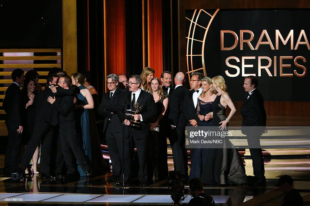 66th ANNUAL PRIMETIME EMMY AWARDS Pictured Writer/producer Vince Gilligan and representatives of 'Breaking Bad' accept the Outstanding Drama Series...