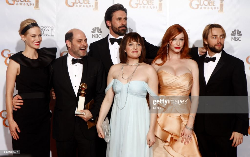 67th ANNUAL GOLDEN GLOBE AWARDS -- Pictured: Cast of Mad Men in the press room during the 67th Annual Golden Globe Awards held at the Beverly Hilton Hotel on January 17, 2010 -- Photo by: Trae Patton/NBCU Photo Bank