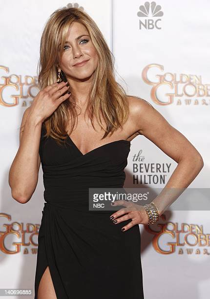67th ANNUAL GOLDEN GLOBE AWARDS Pictured Jennifer Aniston in the press room during the 67th Annual Golden Globe Awards held at the Beverly Hilton...