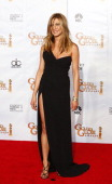 67th ANNUAL GOLDEN GLOBE AWARDS Pictured Presenter Jennifer Aniston wearing a Valentino gown in the press room during the 67th Annual Golden Globe...