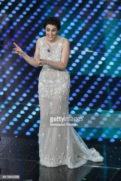 67th Sanremo Music Festival 5th night Actress Diana Del Bufalo onstage Sanremo February 11 2017