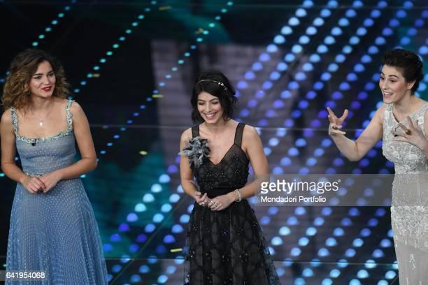 67th Sanremo Music Festival 5th night Actresses Giusy Buscemi Alessandra Mastronardi e Diana Del Bufalo on stage Sanremo February 11 2017