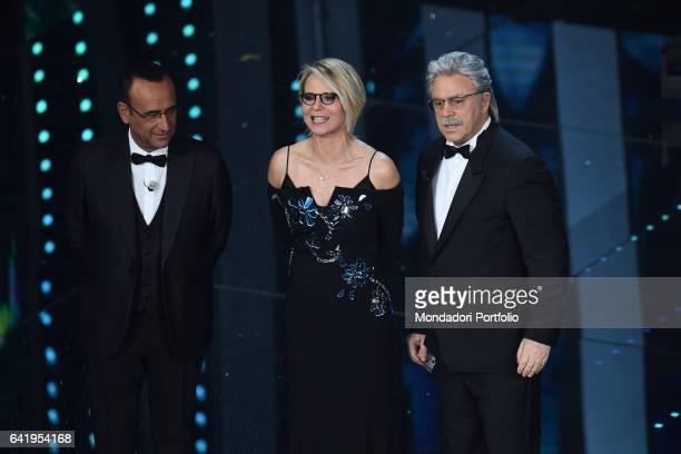 67th Sanremo Music Festival 5th night Carlo Conti Maria De Filippi and Maurizio Crozza Sanremo February 11 2017