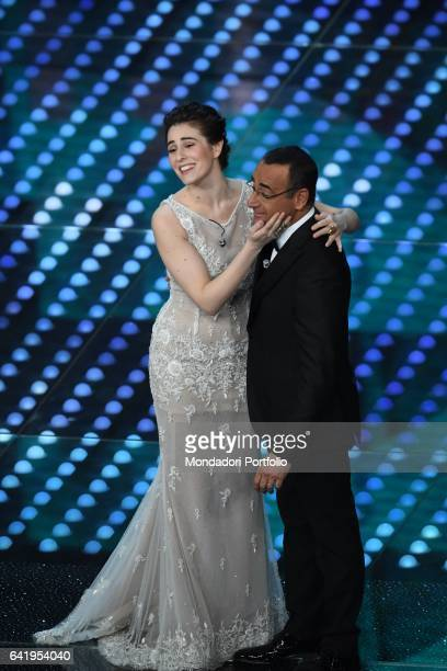 67th Sanremo Music Festival 5th night Diana Del Bufalo and Carlo Conti Sanremo February 11 2017
