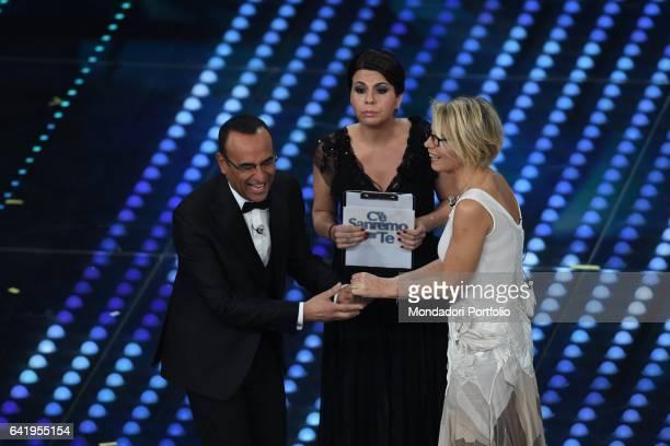 67th Sanremo Music Festival 5th night Sanremo February 11 2017 In the picture Tv host Carlo Conti and Maria De Filippi Stand up comedian Geppi...