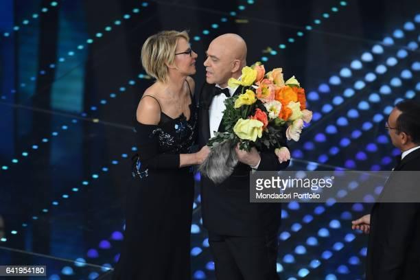 67th Sanremo Music Festival 5th night Sanremo February 11 2017 Pictured Tv host Maria De Filippi Actor Maurizio Crozza