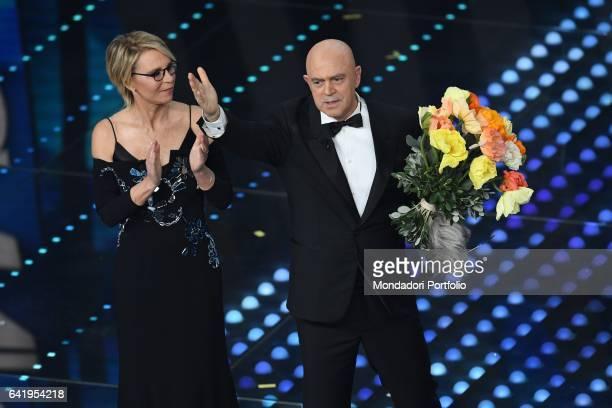 67th Sanremo Music Festival 5th night Sanremo February 11 2017 Pictured Tv host Maria De Filippi Actor Maurizio Crozza