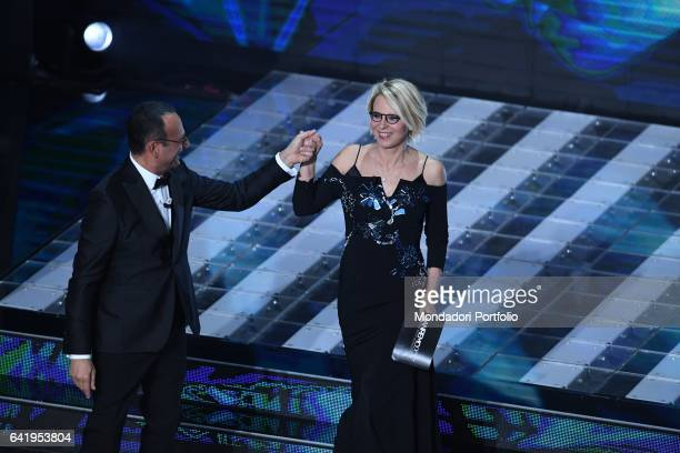 67th Sanremo Music Festival 5th night Television hosts Carlo Conti and Maria De Filippi Sanremo February 11 2017